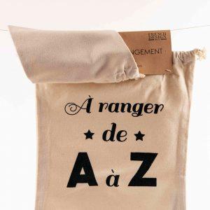 2 Pochettes de rangement en toile à message – Pochette surprise + A ranger de A à Z