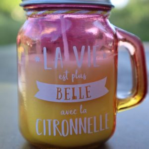 Bougie à message – la vie est plus belle avec la citronnelle ! senteur citronnelle