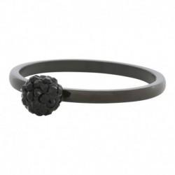 Anneau de bague IXXXI boule cristal noir 2 mm